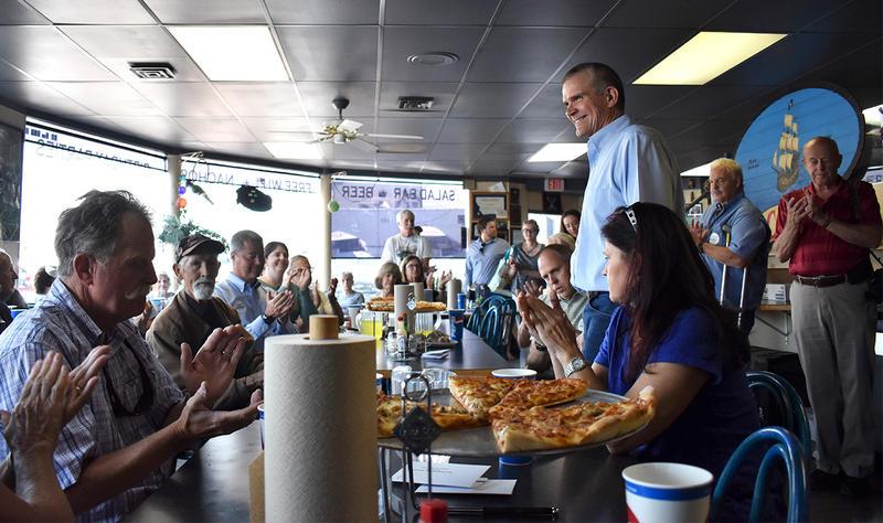Montana's Republican nominee for U.S. Senate Matt Rosendale campaigns in Polson August 9.