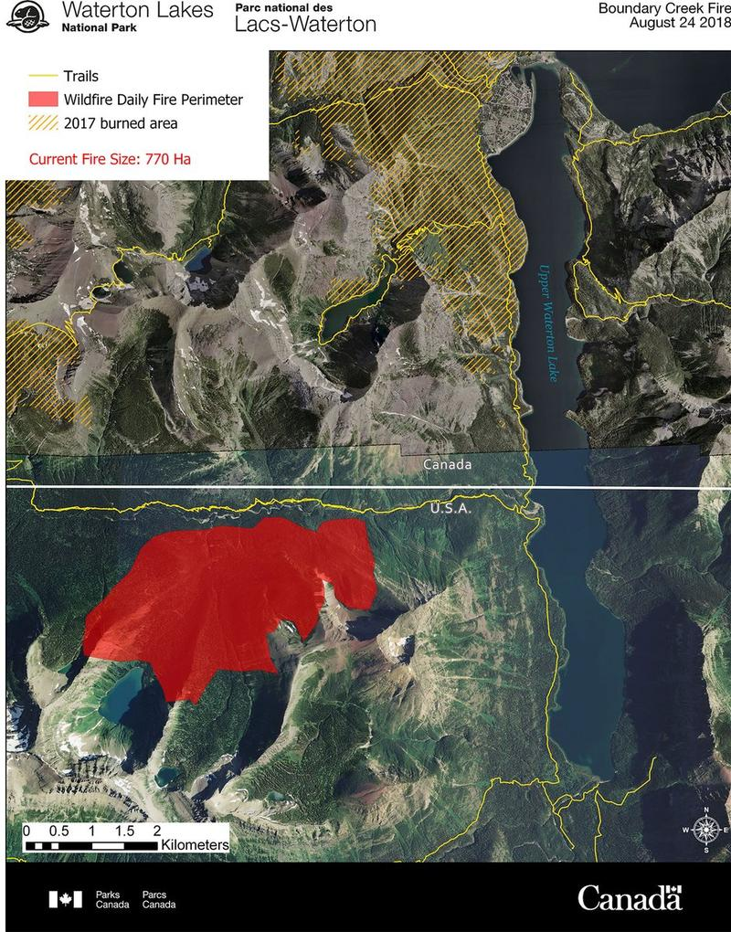 A map showing the perimeter of the Boundary Creek Fire burning along the Candian Border near Waterton National Park, August 24, 2018.
