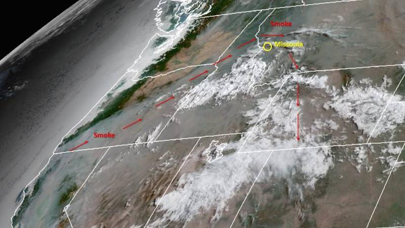 Smoke from Oregon and California fires arcs over Montana in this satellite image taken August 1.