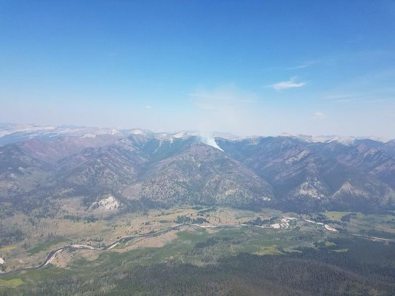 The Brownstone Fire burning in the Bob Marshall Wilderness, August 4, 2018.