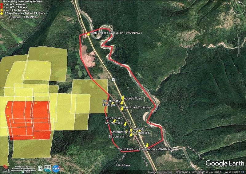 A map showing the area under an evacuation warning near Essex for the Paola Ridge Fire