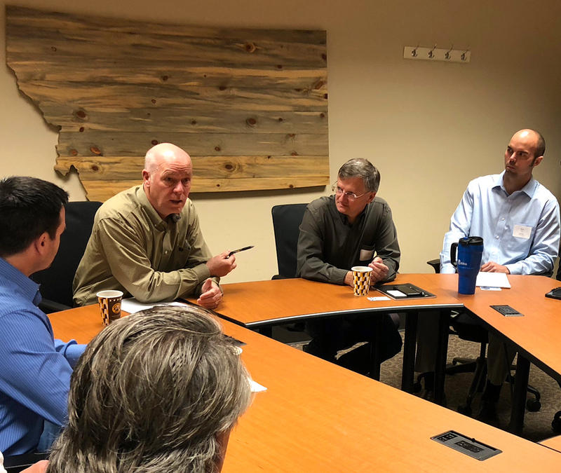 Rep. Greg Gianforte meets with Montana tech-industry reps in Missoula, August 20, 2018.