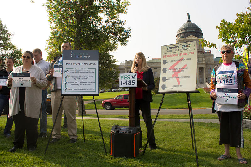Groups in support of I-185 held a press conference across from the Capitol in Helena Wednesday, August 22, 2018.