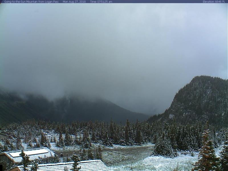 A webcam view from Logan Pass in Glacier National Park on the morning of August 27, 2018.