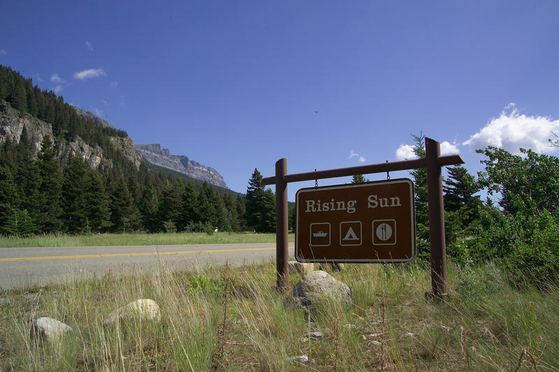 Sign for the Rising Sun area in Glacier National Park.