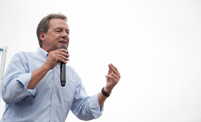 Montana Governor Steve Bullock speaking at the Des Moines Register Political Soapbox at the Iowa State Fair, August 16, 2018.