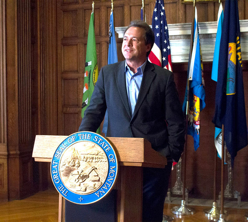 Montana Governor Steve Bullock speaks at the state Capitol in Helena, August 21, 2018.