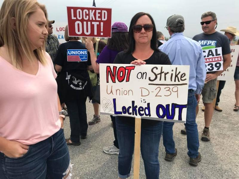 Locked-out Imerys America employees at the talc mill in Three Forks, MT. August 24, 2018.