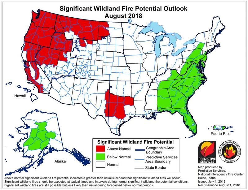 Significant Wildland Fire Potential August 2018.