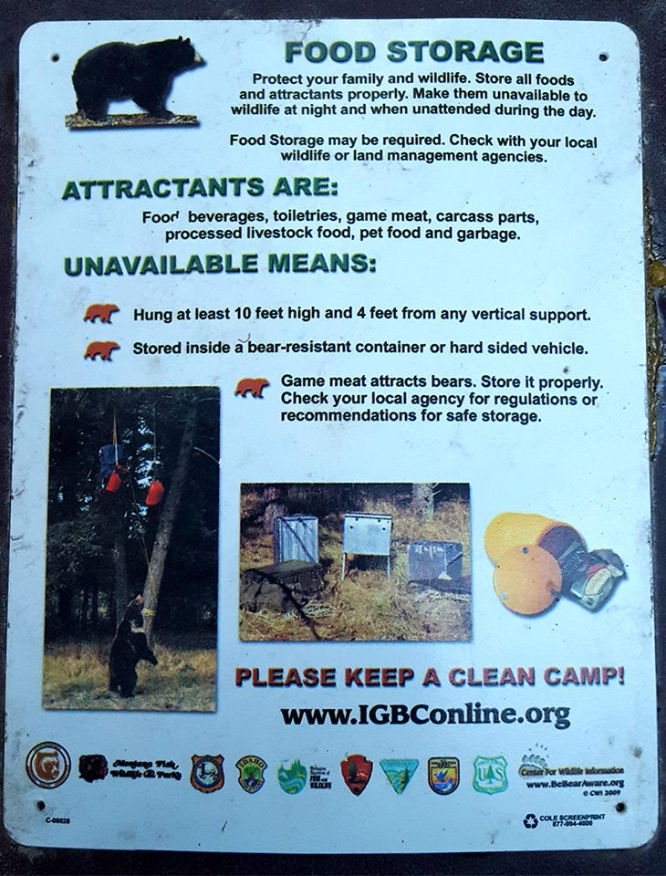 Bear food storage sign from a campground in the Kootenai National Forest.
