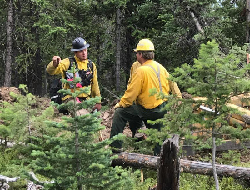 CS&KT forester James Lozeau and team on the Garden Creek Fire, August 6, 2018.
