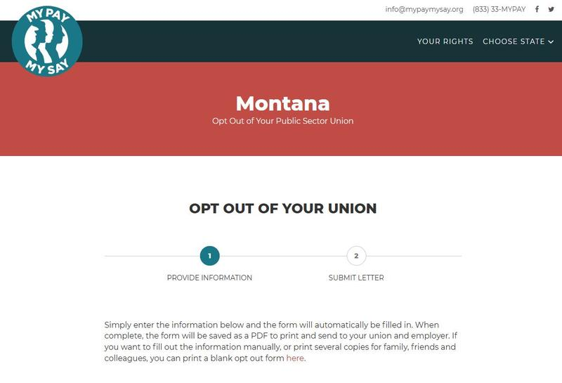 """A screen capture from the """"My Pay, My Say"""" campaign website, August 28, 2018, which provides a form for public employee union members to opt out of their union."""