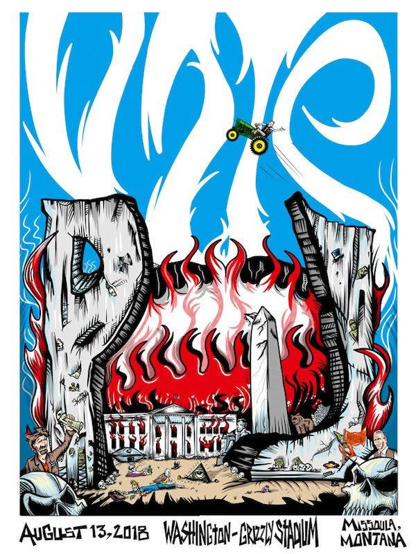 The official poster for Pearl Jam's August 13, 2018 concert in Missoula, MT.