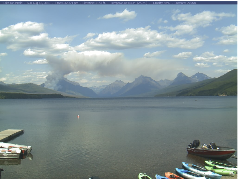A fire actively burning in Glacier National Park as seen from the Lake McDonald webcam