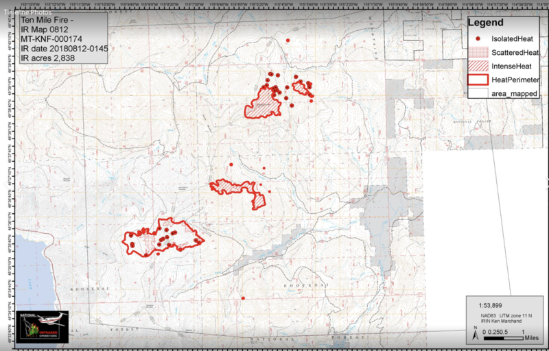 Latest mapping on the Ten Mile Fire on the Kootenai National Fortest