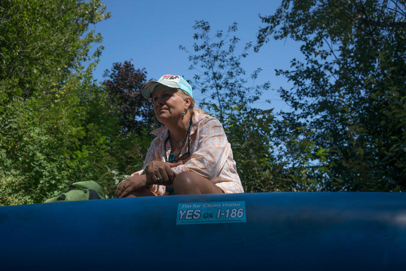 Missoula resident Heidi MacDonald gets ready to float the Clark Fork in support of I-186