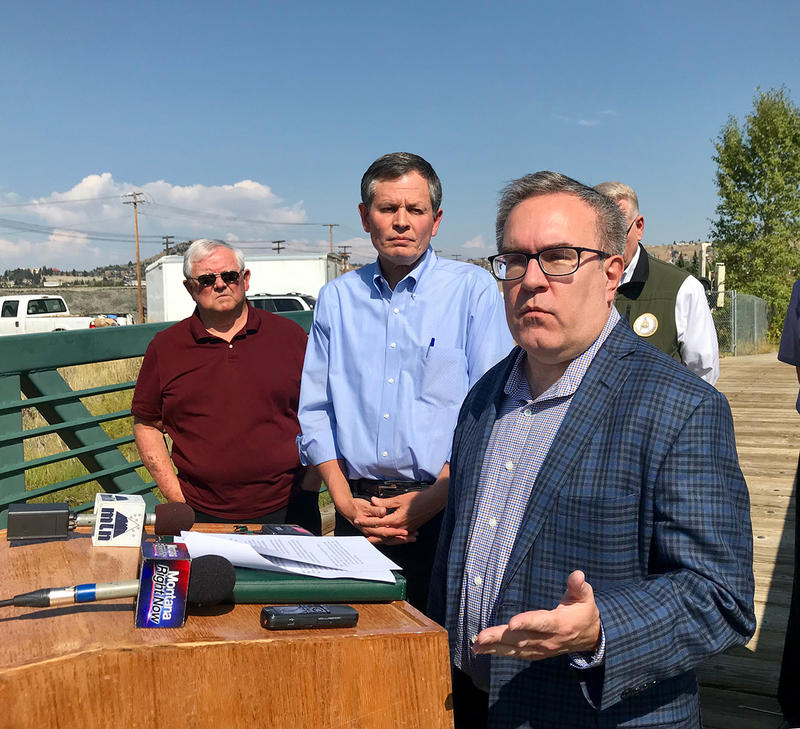 L to R, Butte Superfund Activist Fritz Dailey, US Senator Steve Daines and Acting EPA Administrator Andrew Wheeler at the confluence of Blacktail and Silver Bow Creeks in Butte, September 7, 2018.