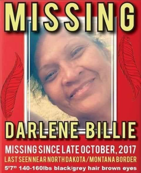 A poster for Darlene Billie, who went missing in October 2017.