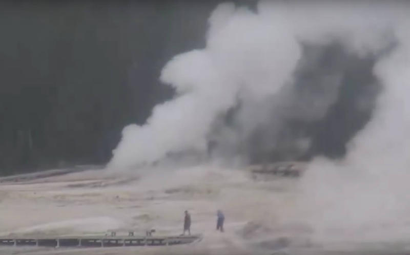 Yellowstone Park's Ear Spring erupts, September 15, 2018.