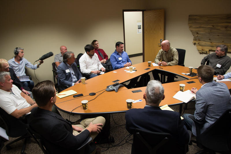 Rep. Greg Gianforte meets with tech executives in Missoula, August 20, 2018.
