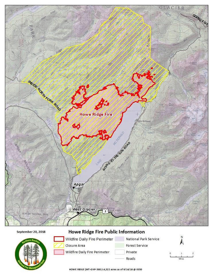 Map of the Howe Ridge Fire perimeter, September 20, 2018.