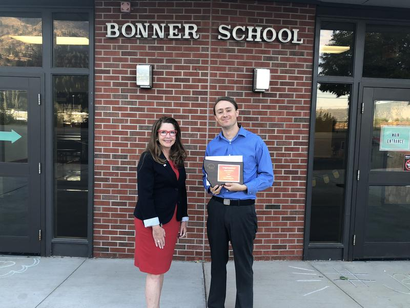 State Superintendent Elsie Arntzen and 2019 Montana Teacher of the Year Dylan Huisken at Bonner Middle School on Thursday, September 20, 2018.