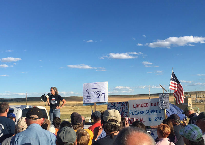 Kathleen Williams speaks at the Labor Day Rally in front of workers picketing Imerys America Talc Mill in Three Forks.