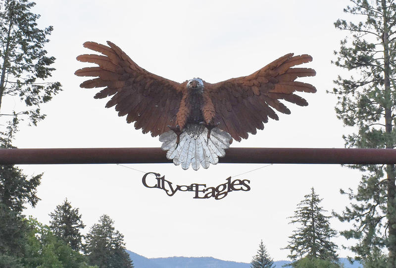 The Libby eagle sits above downtown Libby, Montana.