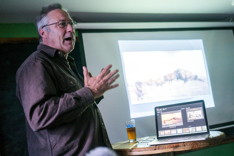Longtime grizzly advocate Mike Bader presents at a letter-writing meetup for Montana Fish, Wildlife and Parks' new grizzly rule.