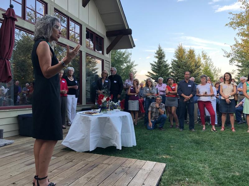 Kathleen Williams speaks at a fundraiser in Bozeman last Friday