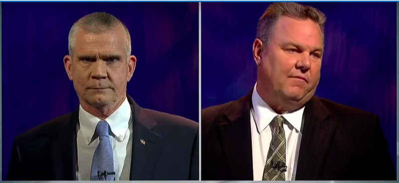 State Auditor Matt Rosendale, Republican, left, and Senator Jon Tester, Democrat, right.