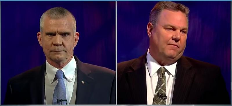 State Auditor Matt Rosendale, Republican, left, and Senator Jon Tester, Democrat, right.