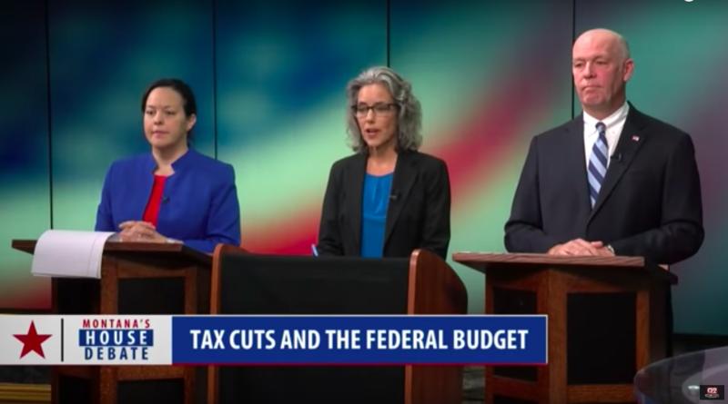 L to R, Libertarian Elinor Swanson, Democrat Kathleen Williams and Republican Greg Gianforte