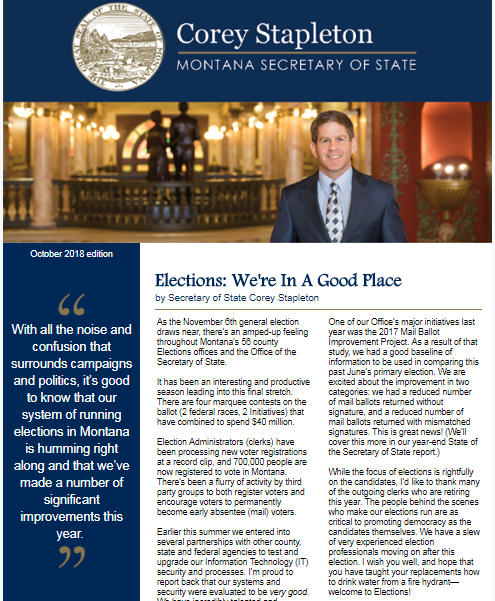 An image of part of the email from Montana's Secretary of State office announcing errors in the state Voter Information Pamphlet
