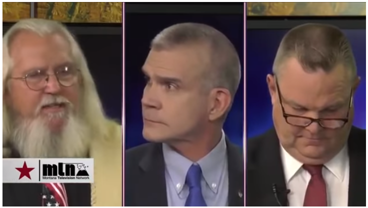 L to R, Libertarian Rick Breckenridge, Republican Matt Rosendale and Democrat Jon Tester
