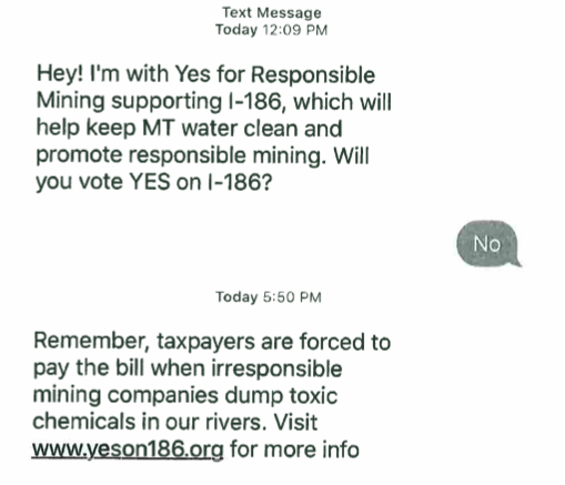 A screen shot of a recent political text message sent to phones in Montana