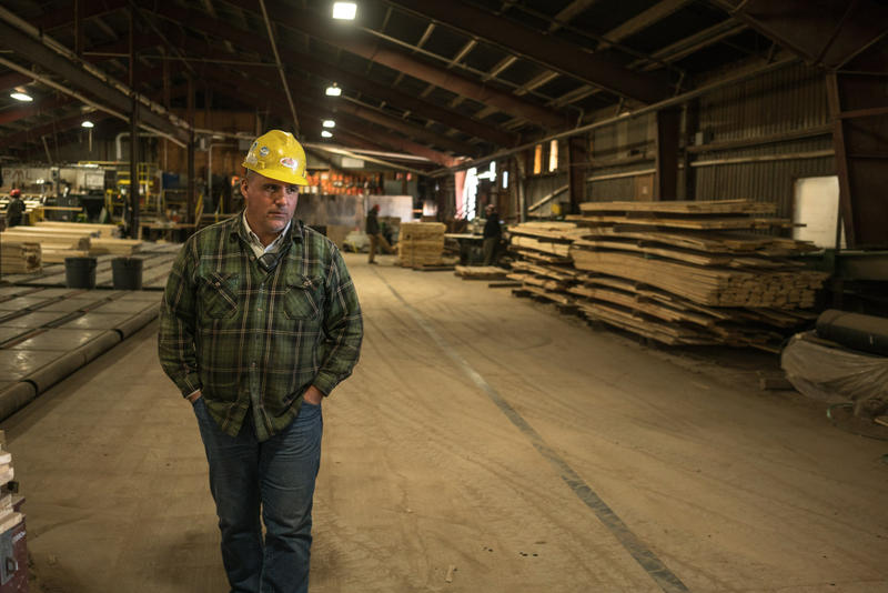 Plant Manager Todd Johnson walks through the mill at Pyramid Mountain Lumber Company