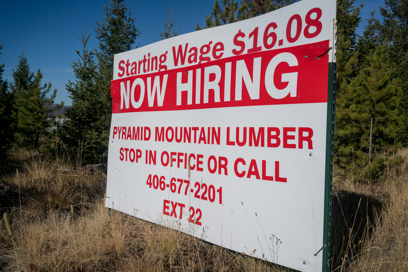A sign advertising employment at Pyramid Mountain Lumber Copmany