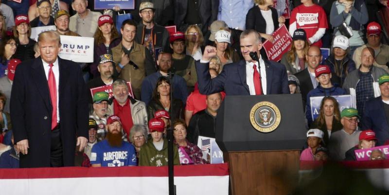President Trump and U.S. Senate candidate Matt Rosendale at a campaign rally in Missoula, MT, Oct. 18, 2018.