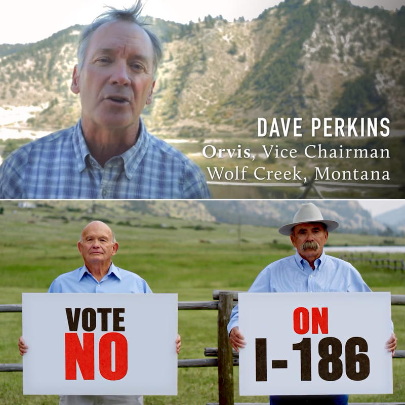 Images captured from Pro- and Anti-I-186 ads. Top: Dave Perkins, vice chairman of Orvis. Bottom: State lawmakers Jim Keane (Butte-D) and Duane Ankney (Colstrip-R) opposing I-186.