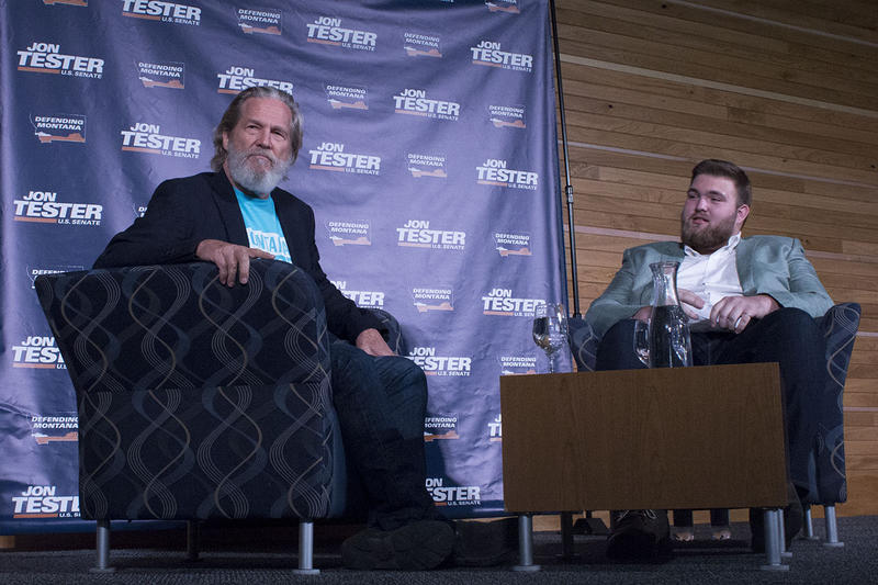 Jeff Bridges speaks with Richard Wagner, the ASMSU Political Action Director at the campus of Montana State University in Bozeman, October 17, 2018.