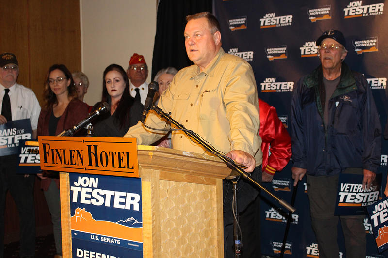 Senator Jon Tester spoke about his record supporting Montana's veterans at a press conference in Butte. October 18, 2018.