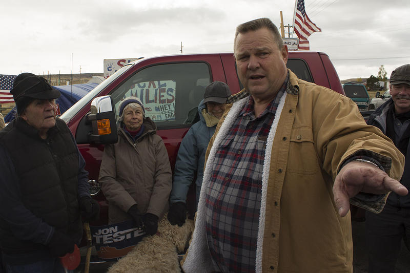 Democrat Jon Tester rallys with union workers in Three Forks, Montana. Tester is facing Republican Matt Rosendale in this year's midterm election.