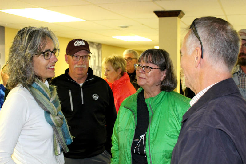 "Kathleen Williams chats with Anaconda constituents at a ""meet-and-greet"" on October 15, 2018."