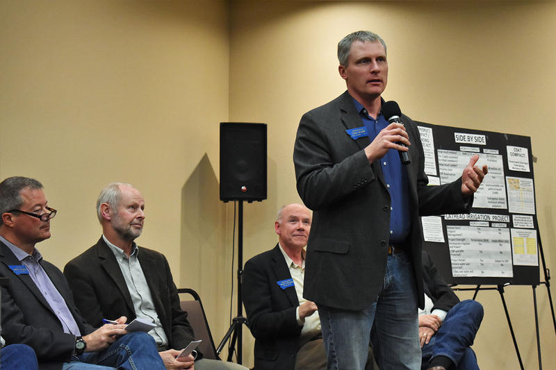 Carl Glimm (R, HD6) voices support for the People's Compact as Albert Olszewski (R, SD6), Keith Regier (R, SD3), Mark Noland (R, HD10) and Mark Blasdel (R, SD4) look on in Polson on November 27.