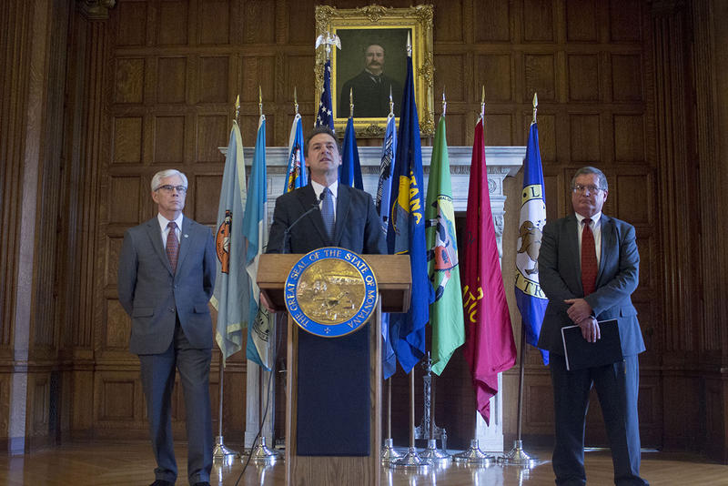 Governor Steve Bullock announced his budget priorities for the upcoming 2019 legislative session, Thursday, November 15. Bullock was joined by Lt. Governor Mike Cooney (left) and Montana Budget Director Tom Livers (right).
