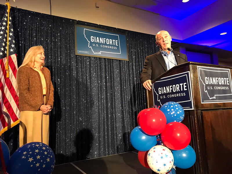 Greg Gianforte addresses the crowd at his campaign watch party late Tuesday night as his wife Susan looks on. Nov. 6, 2018