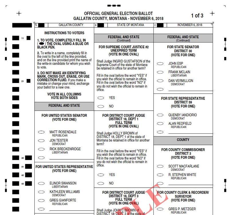Sample Montana ballot.