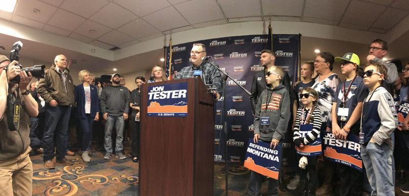 Sen. Tester speaks to supporters in Great Falls.