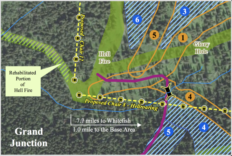 Partial map of the suggested improvements in the Hellroaring Basin.